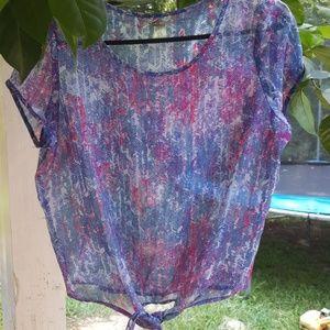 Beautiful blue,purple,& pink print crop top